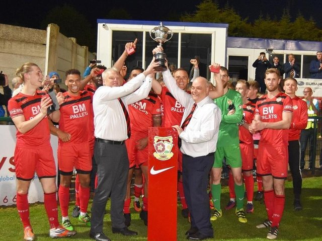 Kettering Town celebrate their Hillier Senior Cup success in 2018