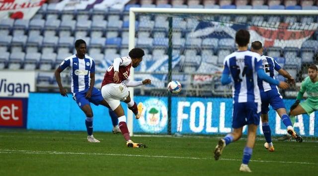 Caleb Chukwuemeka scores his first league goal.