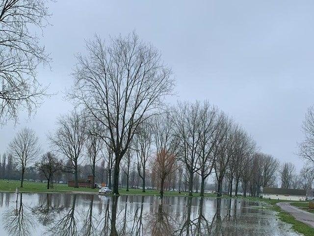 Water levels remained high at Billing Aquadrome on Friday morning. Photo: Harvey Sambridge