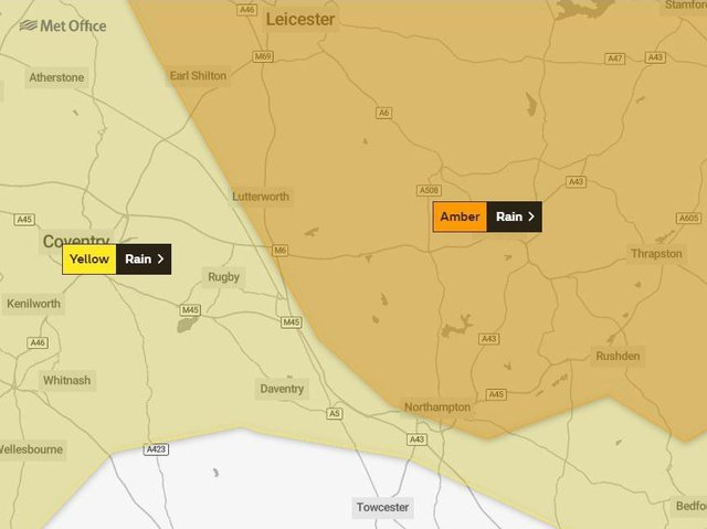 Weather warnings are in force across Northamptonshire from tomorrow morning until noon on Thursday