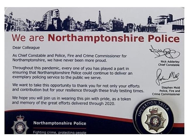 Chief Constable Nick Adderley sent more than 2,000 officers and staff Operation Talla pins as a 'thank-you' for efforts during the pandemic