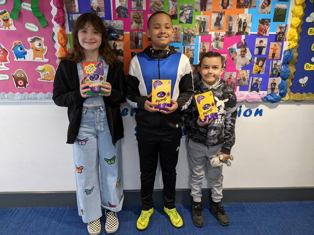 Pupils show off their Easter Eggs.