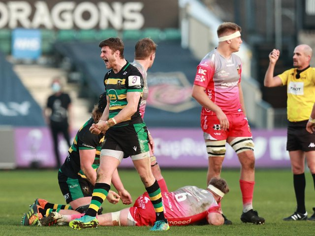 James Grayson roared with delight after Saints secured a memorable win at Rodney Parade