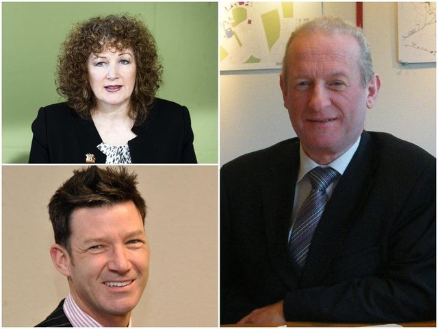(Clockwise from top left): former Northamptonshire County Council chief executive Theresa Grant, former Daventry District Council chief executive Ian Vincent and former Northampton Borough Council chief executive George Candler