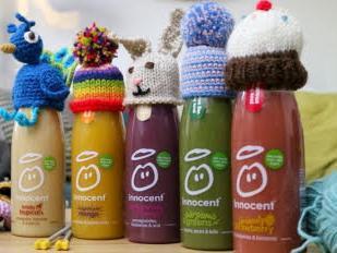 Raise money for Age UK by knitting little hats for Innocent smoothie bottles!