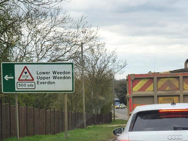 The A5 south of Weedon Bec has been partially blocked following a collision with a school bus.
