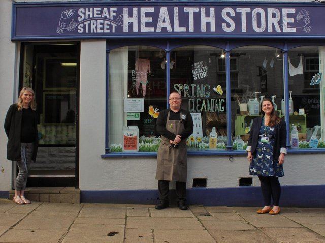 Project coordinators for Milk&You Michelle Santhi and Bethany Brown with Sheaf Street Health Store, Dean Hand.