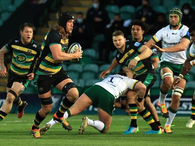 Alex Moon on the charge against London Irish last weekend