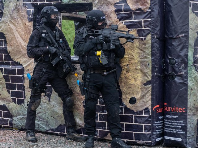 Northamptonshire's crack firearms officers in action at RAF Croughton during their training programme. Photos: Northamptonshire Police