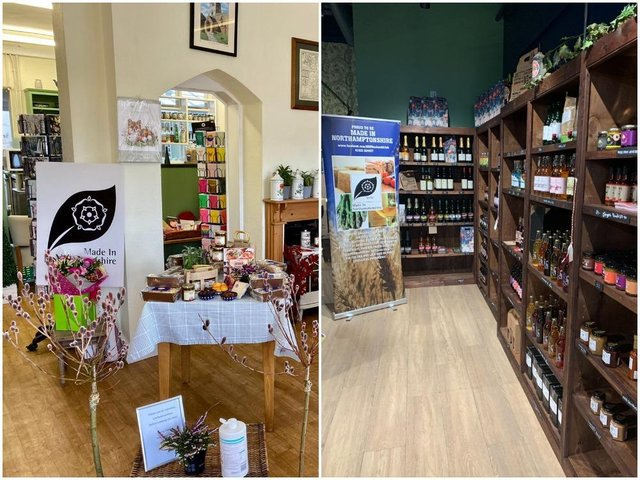 Inside Made In Northamptonshire's two shops at Jeyes of Earls Barton (left) and Rushden Lakes