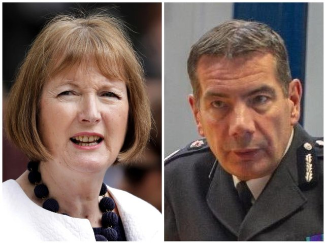 Former solicitor general Harriet Harman (left) and Northamptonshire's Chief Constable Nick Adderley