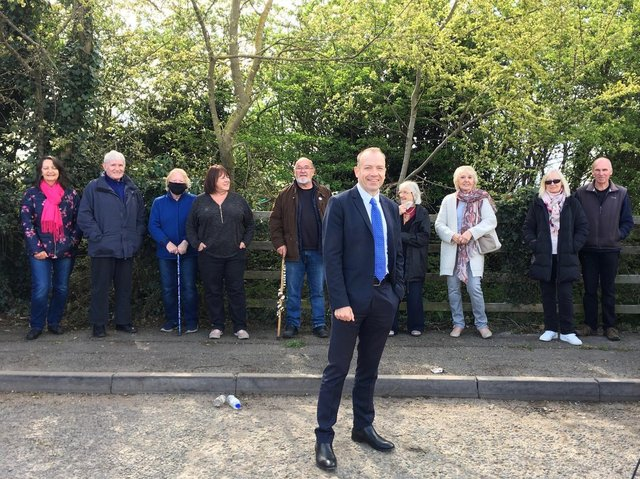 Daventry MP Chris Heaton-Harris at the layby.
