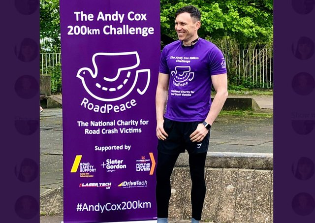 Former Northants Police detective Andy Cox is stopping off at Towcester on his 200km charity run.
