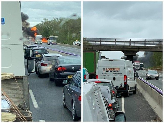 Traffic was blocked both ways while emergency services dealt with a blazing lorry on the M1
