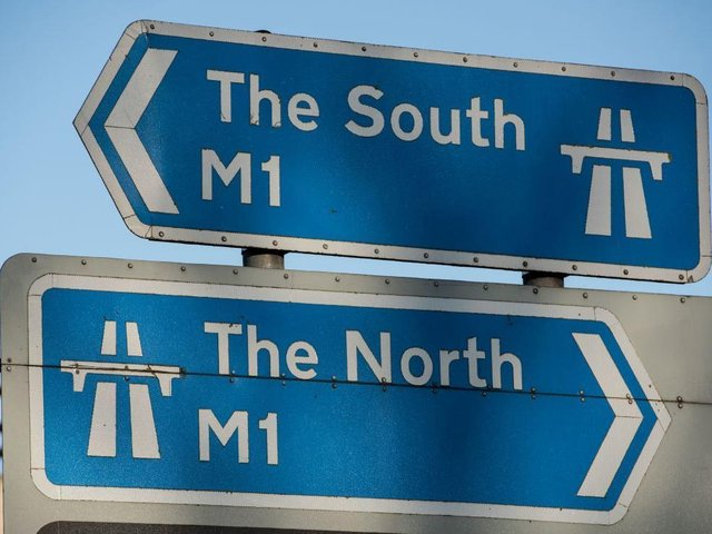 A crash and fuel spillage closed the southbound M1 just before noon on Tuesday