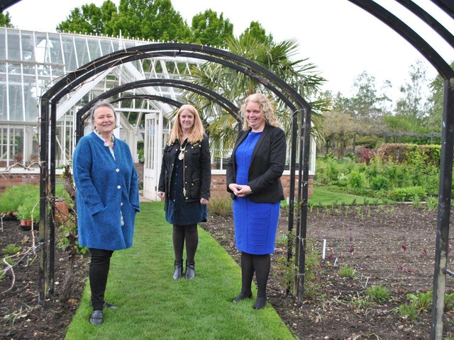 Viridian Nutrition founder and MD Cheryl Thallon, Daventry Mayor Karen Tweedale, Garden Organic acting CEO Julie Court attending the new demonstration Garden, at the charity's national headquarters.