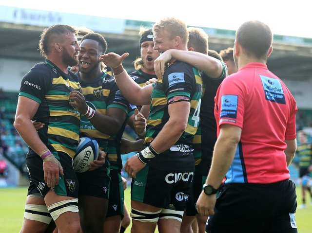 Tom Wood scored what proved to be the winning try against Wasps
