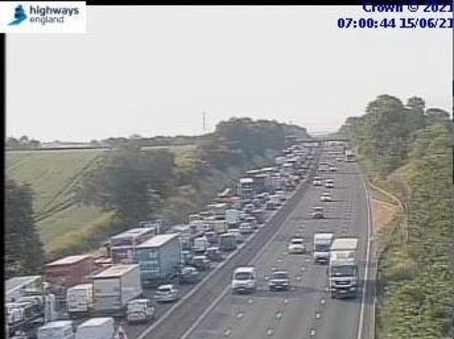 Traffic is trailing back on the M1 southbound following a smash near junction 15A