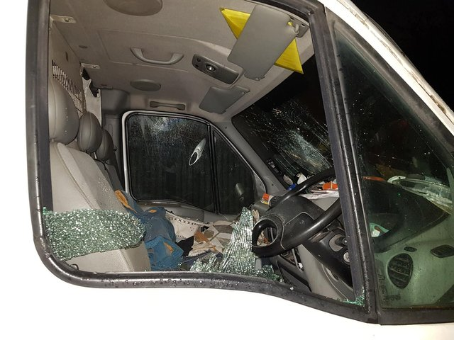 Vandals smashed a window and windscreen, and slashed all four tyres on this van in Daventry