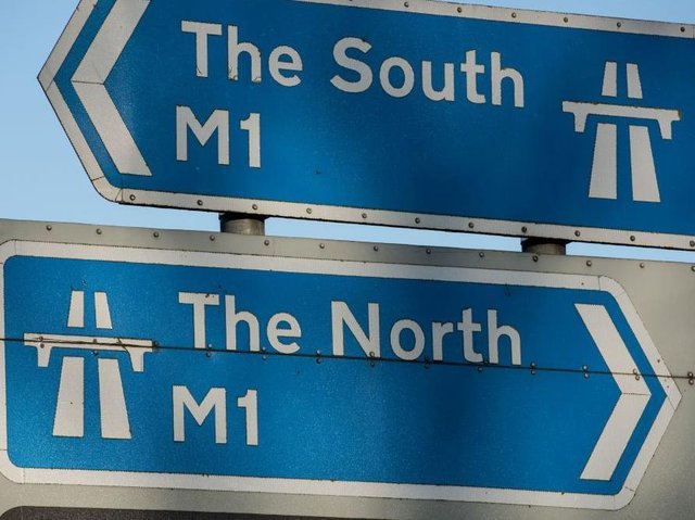 Two lanes are blocked by a crash on the M1 northbound on Tuesday afternoon