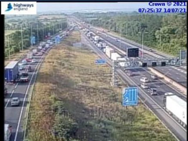 Highways England jam cams showed the queues on the M1 at junction 19 at 7.30am