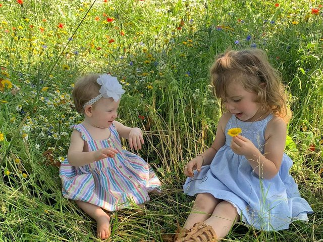 Sisters Jacey, three, and Evanna, 11 months, play in the flowers.