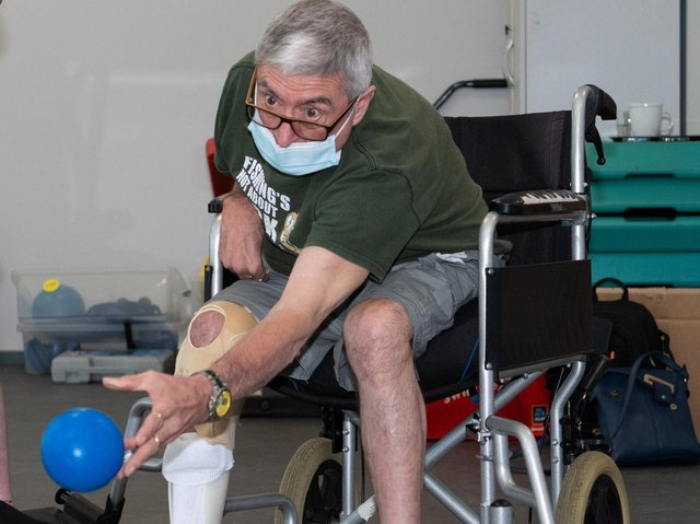 Petanque equipment was donated to the center.  Photo: Richard Nunney.