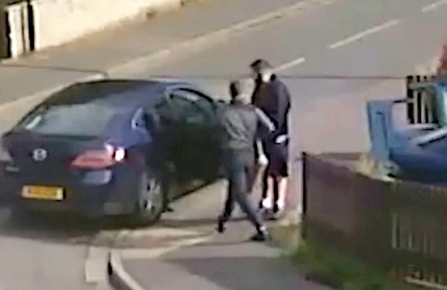 The footage showed the criminals quickly removing the valuable exhaust component
